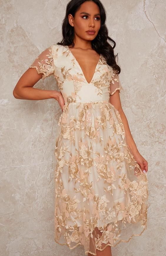 Lace Midi V Neck Midi Dress in Neutral