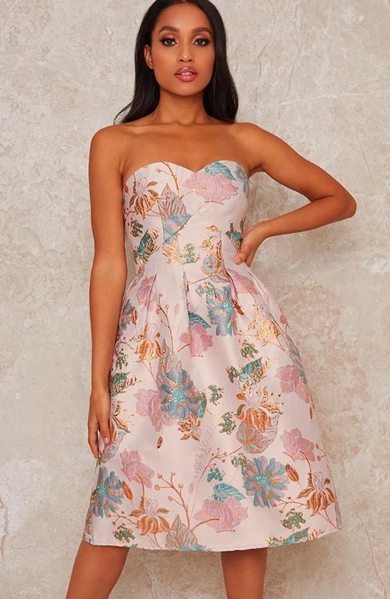 Petite Strapless Jacquard Midi Dress