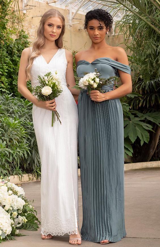 Bardot Bridesmaid Dress with Draped Shoulder