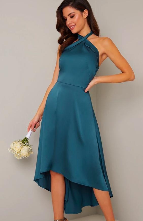 Halter Neck Dip Hem Backless Dress in Green