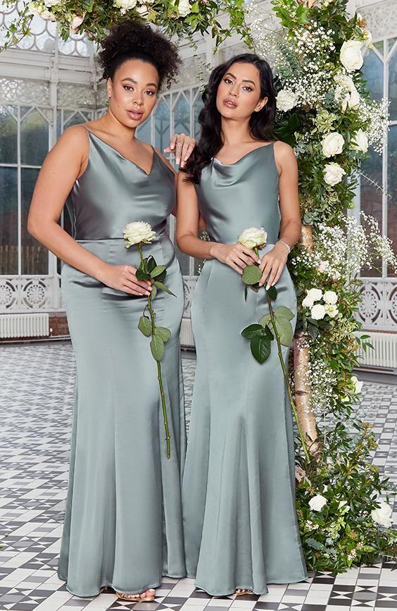 Satin Slip Bridesmaid Maxi Dress in Sea Green