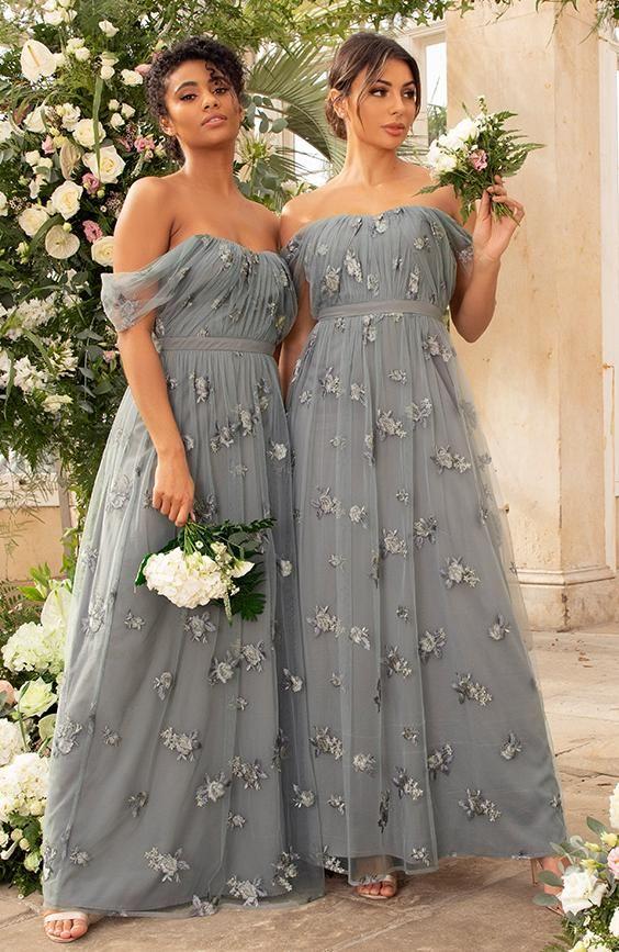 Lace Bardot Maxi Bridesmaid Dress in Green