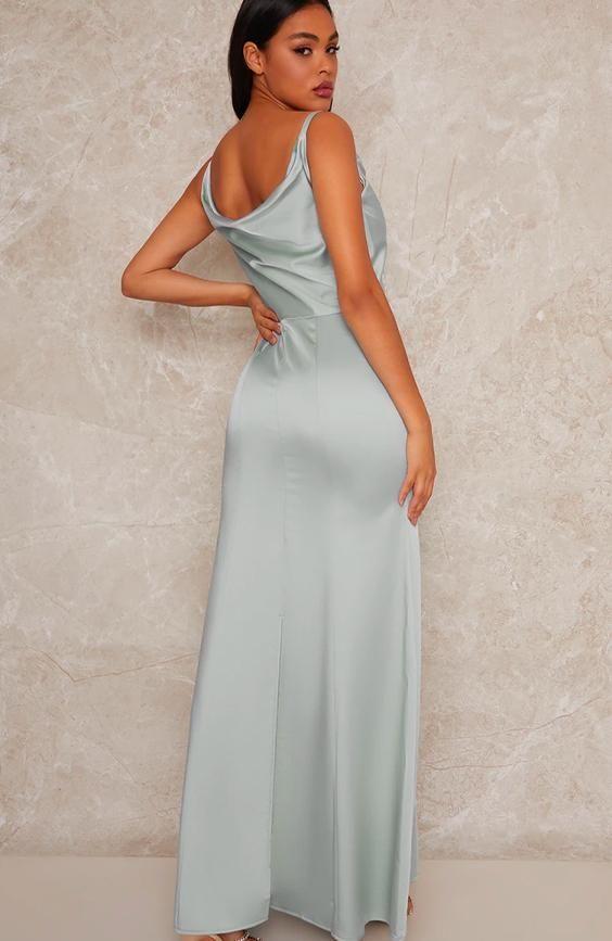 Satin Bridesmaid Maxi Dress with Cowl Neck