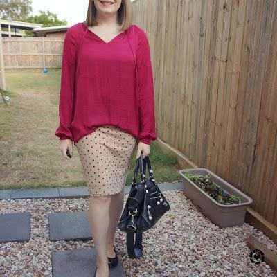 awayfromblue Instagram | blue and berry blouson sleeve blouse and pencil skirt office spring outfit