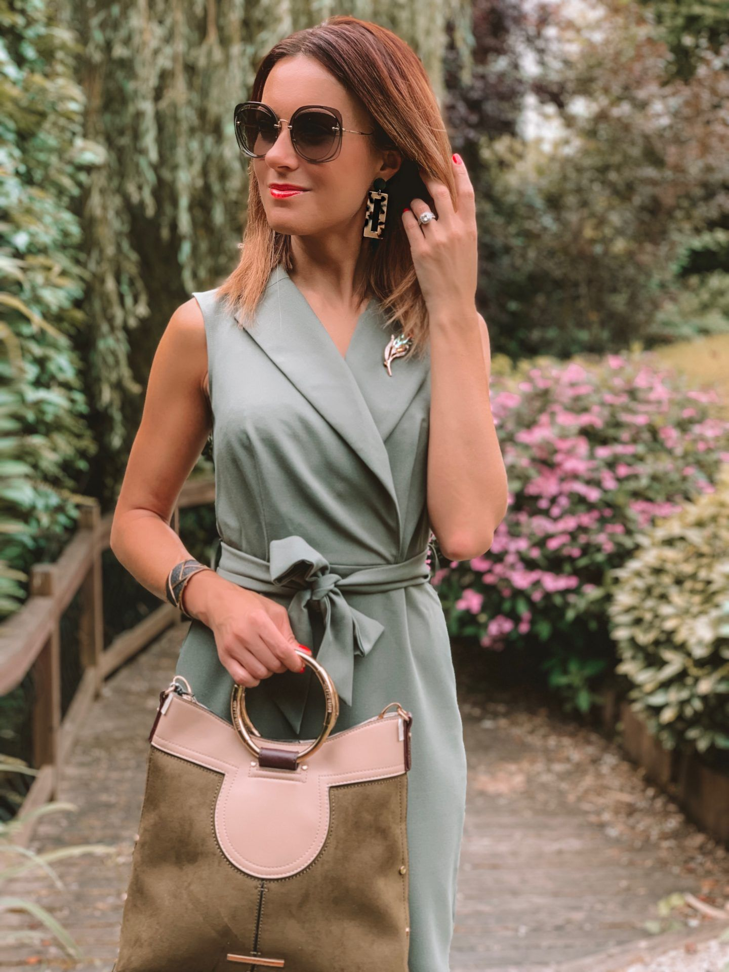 Closet London Khaki Collared Midi Pencil Dress | Elegant Duchess Boutique brooch | Miu Miu sunglasses | River Island Bag