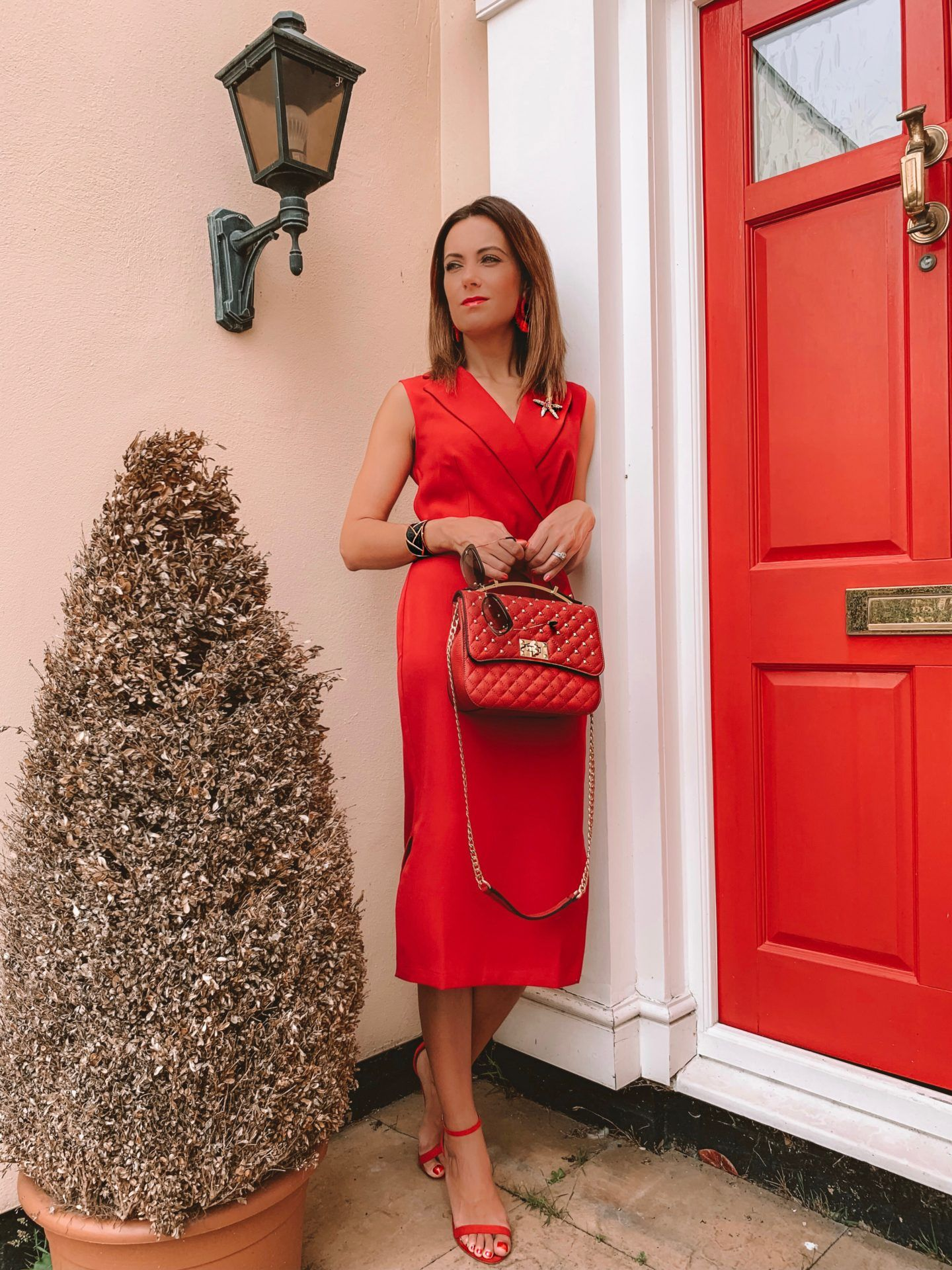 CLOSET LONDON Red Tie Waist Pencil Dress | Elegant Duchess Boutique Brooch