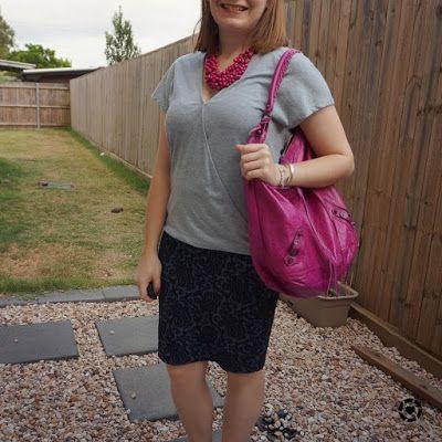 awayfromblue Instgaram | summer office otufit wrap tee with jacquard pencil skirt magenta statement necklace balenciaga bag