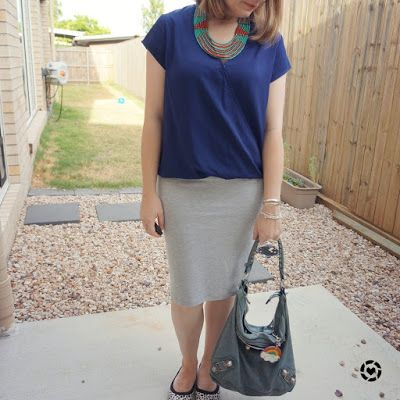 awayfromtheblue instagram | navy wrap top with grey jersey pencil skirt beaded statement necklace summer office outfit