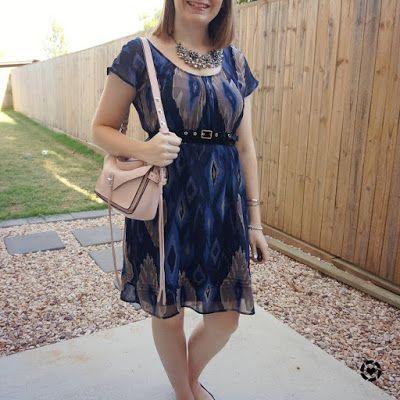 awayfromblue Instagram | navy ikat print belted dress with rebecca minkoff small darren bag