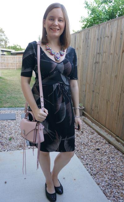 Leona edmiston fern print dress with statement necklace blush rebecca minkoff darren bag | away from blue