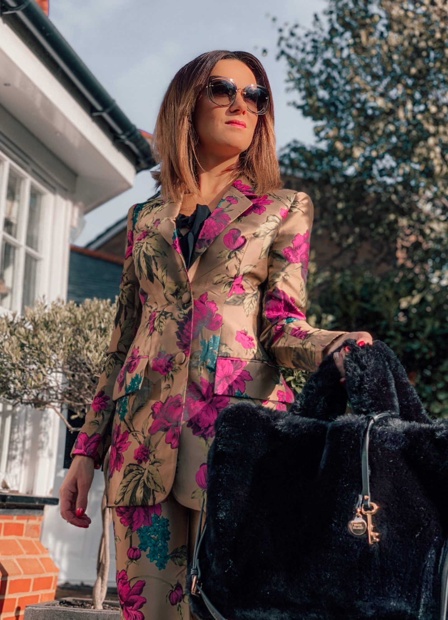 ASOS EDITION floral jacquard blazer | ASOS EDITION floral jacquard trouser | Ted Baker Mesh Insert Court Shoes | River Island oversized fur bag Miu Miu sunglasses