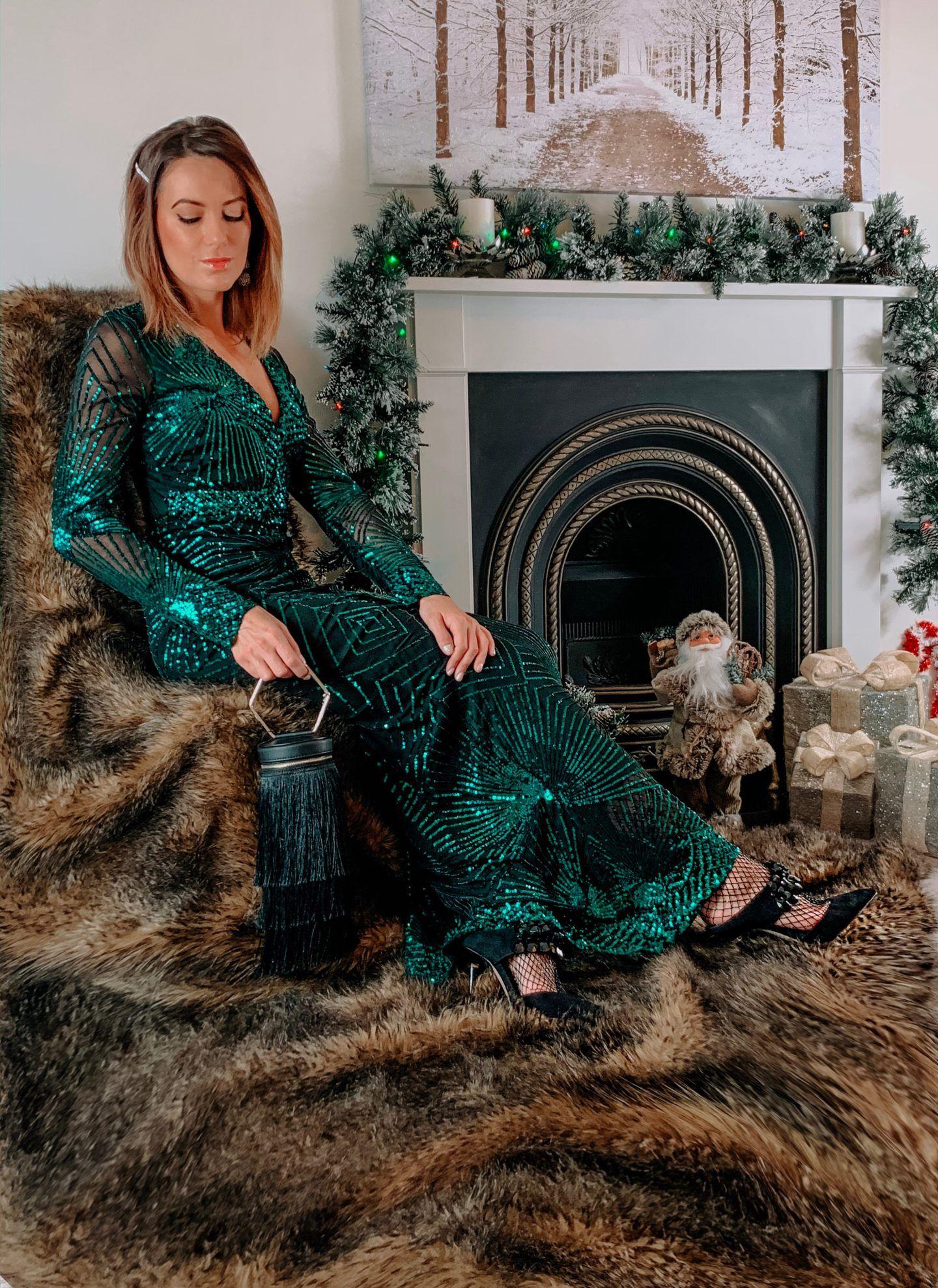 Missguided fringe handbag in black | Goddiva V neck maxi dress in emerald green sequin | Elegant Duchess Hair Clip | Charlotte Tilbury Make up | Dior Lip Gloss
