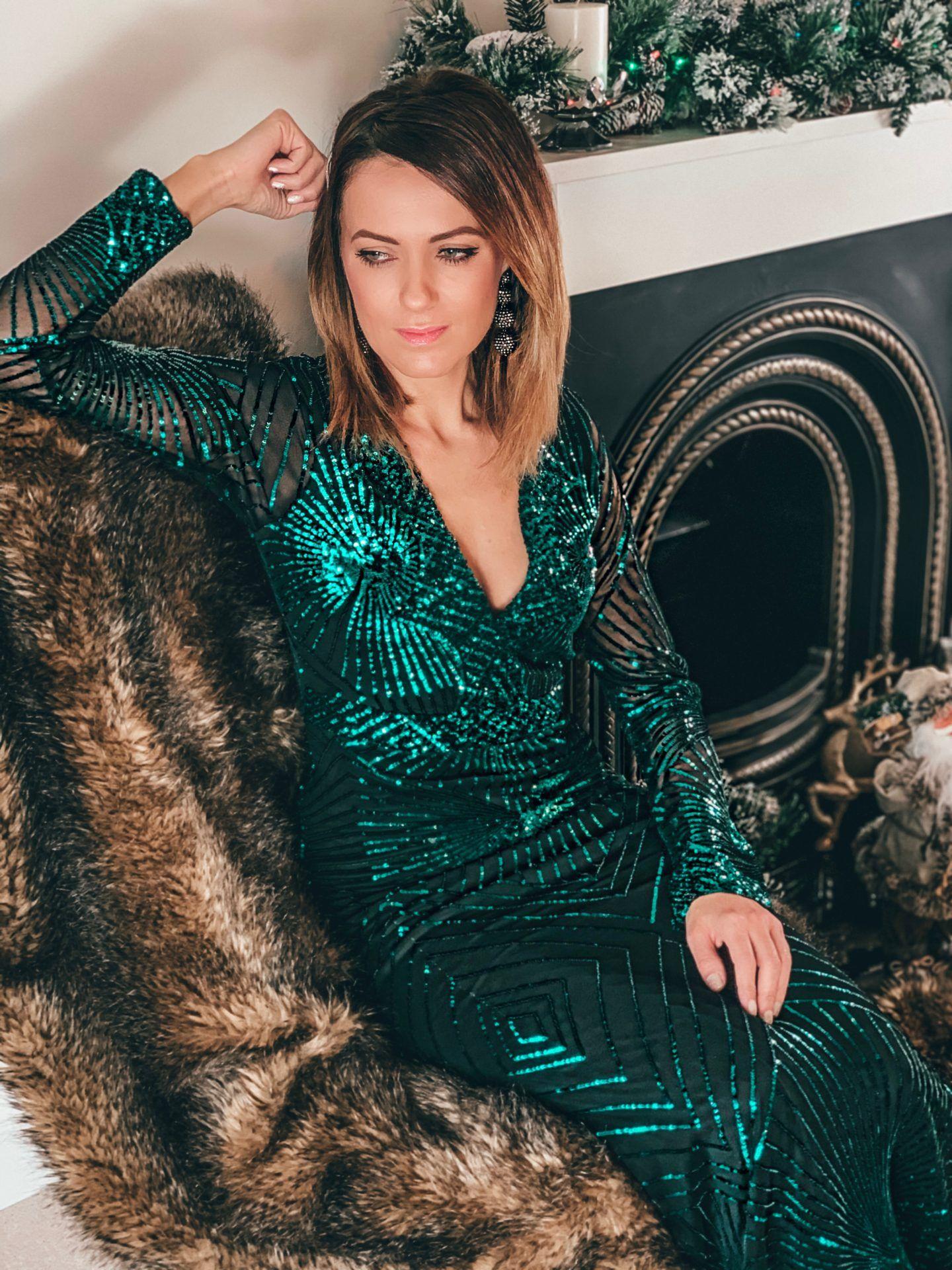 Goddiva V neck maxi dress in emerald green sequin | Elegant Duchess Hair Clip | Charlotte Tilbury Make up | Dior Lip Gloss