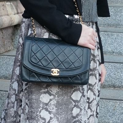 snake print maxi dress with Chanel vintage quilted lambskin flap | awayfromtheblue