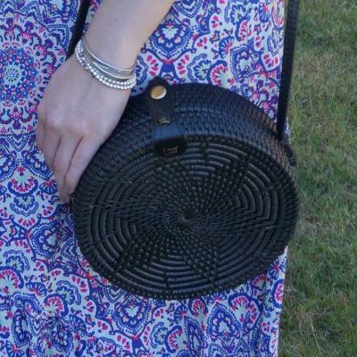 Amerii medium sling rattan bag in black with mandala print maxi dress | away from the blue