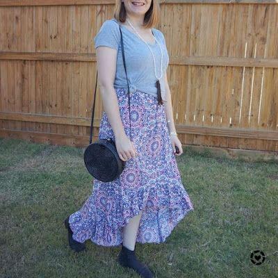 awayfromtheblue Instagram | grey tee over high low maxi dress casual spring church outfit with amerii straw circle bag