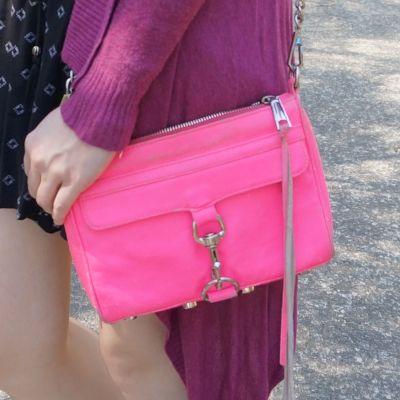 magenta cardigan with Rebecca Minkoff neon pink mini MAC | awayfromtheblue