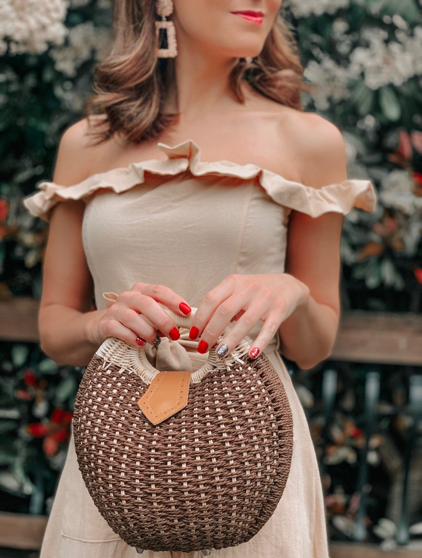 OUTFIT FROM ELEGANT DUCHESS BOUTIQUE Round Summer Beach Straw Bag | Off shoulder ruffle detail midi dress | TEXTURED GEOMETRIC EARRINGS | Pearl Hair Clip | MIU MIU SUNGLASSES