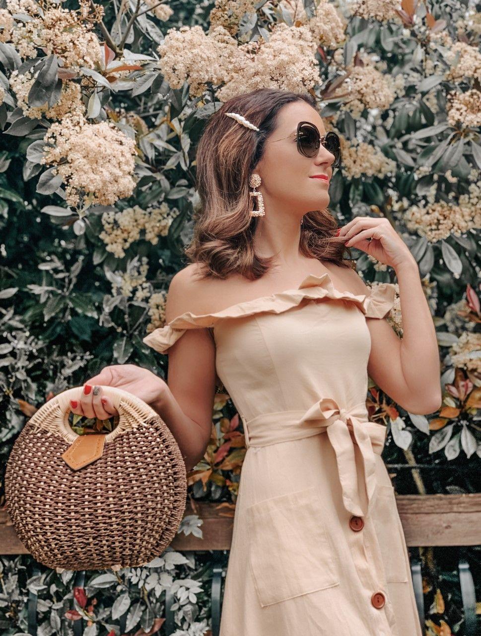 OUTFIT FROM ELEGANT DUCHESS BOUTIQUE Round Summer Beach Straw Bag | Off shoulder ruffle detail midi dress | TEXTURED GEOMETRIC EARRINGS | Pearl Hair Clip | MIU MIU SUNGLASSES | NEXT Plait Detail Espadrille Wedges