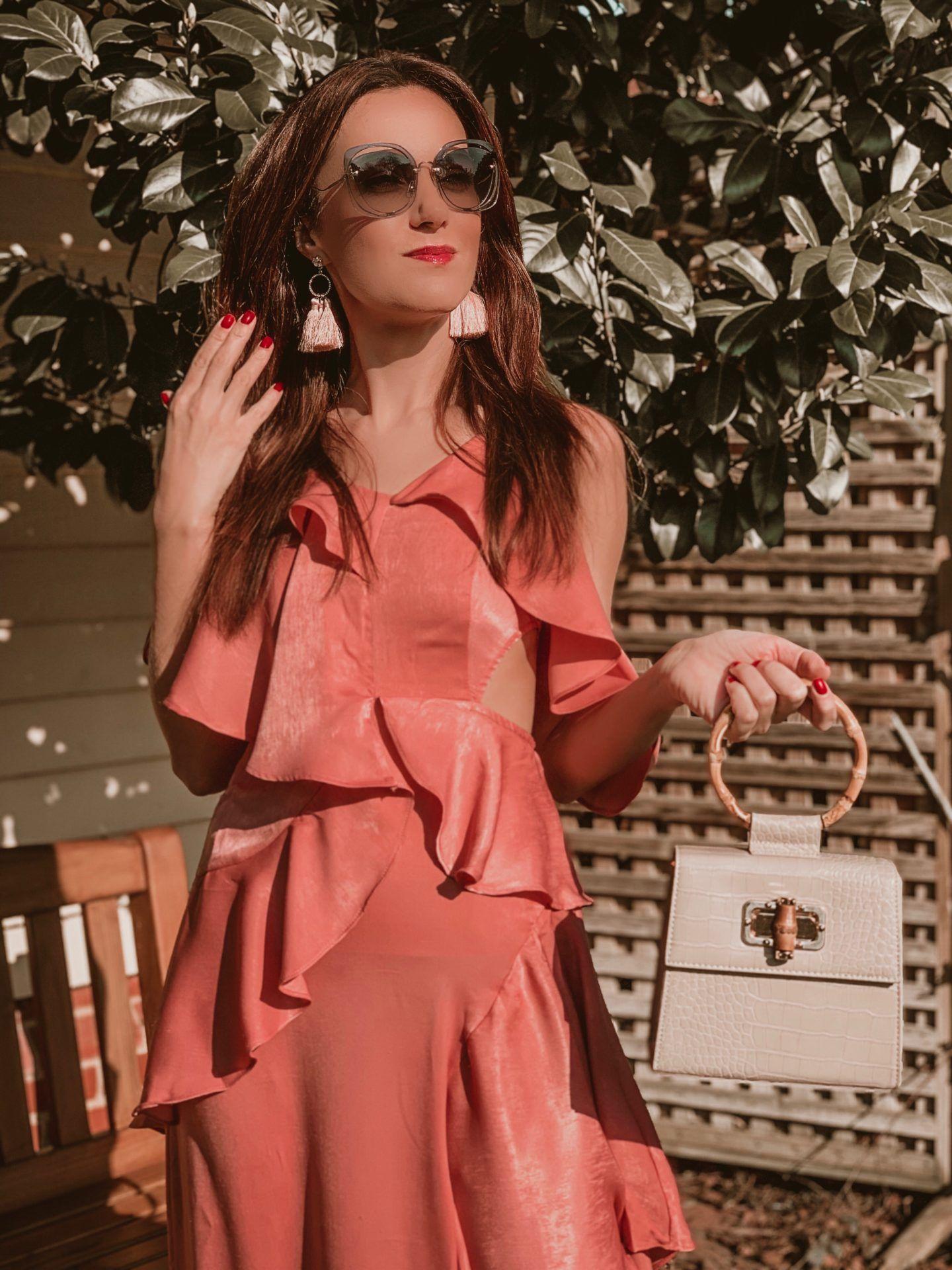 ASOS DESIGN floaty satin ruffle maxi dress | Miu Miu sunglasses | Liars & Lovers cream mock croc bamboo handle cross body bag | Carvela Pointed Asymmetric Strap Heels