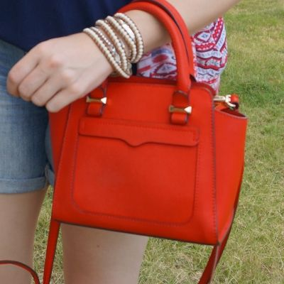 beaded wrap bracelet roie designs with Rebecca Minkoff red micro Avery cross body bag | awayfromtheblue
