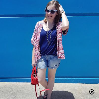 awayfromblue Instagram | summer mum style shorts and kimono red accessories with monochromatic blue outfit