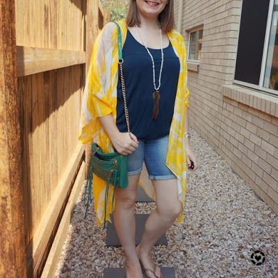 awayfromblue Instagram | yellow duster kimono jeanswest Eliza summer poncho floral with navy tank denim shorts summer breastfeeding outfit