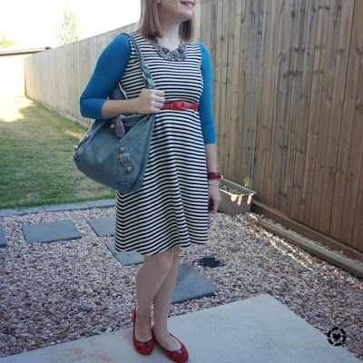 awayfromblue Instagram   teal tee under sleeveless striped fit and flare dress with Balenciaga day bag and red accessories