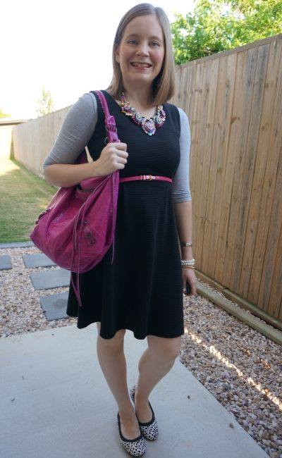 sleeveless fit and flare dress lbd with pink accessories and tee layered underneath   awayfromblue