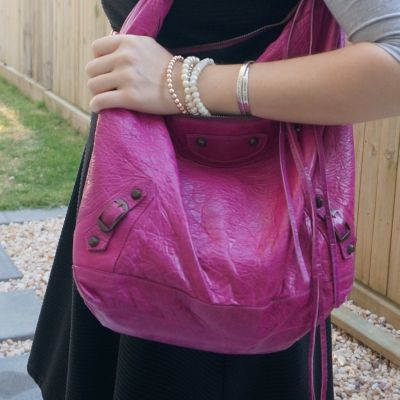 black fit and flare dress with Balenciaga Day bag in 2005 magenta   awayfromtheblue