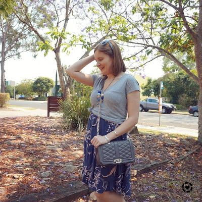 awayfromblue Instagram | mum style church outfit knotted grey tee over tiered printed sundress with rebecca minkoff love bag
