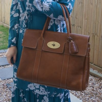 teal floral dress with Mulberry Bayswater in Oak NVT leather | awayfromblue