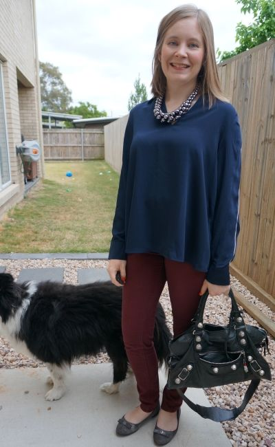 Target Preview navy long sleeve collared shirt with burgundy pants statement necklace for the office   awayfromblue