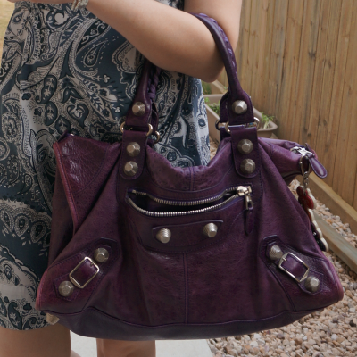Balenciaga raisin purple 2009 giant silver G21 hardware work bag with paisley print dress | away from the blue