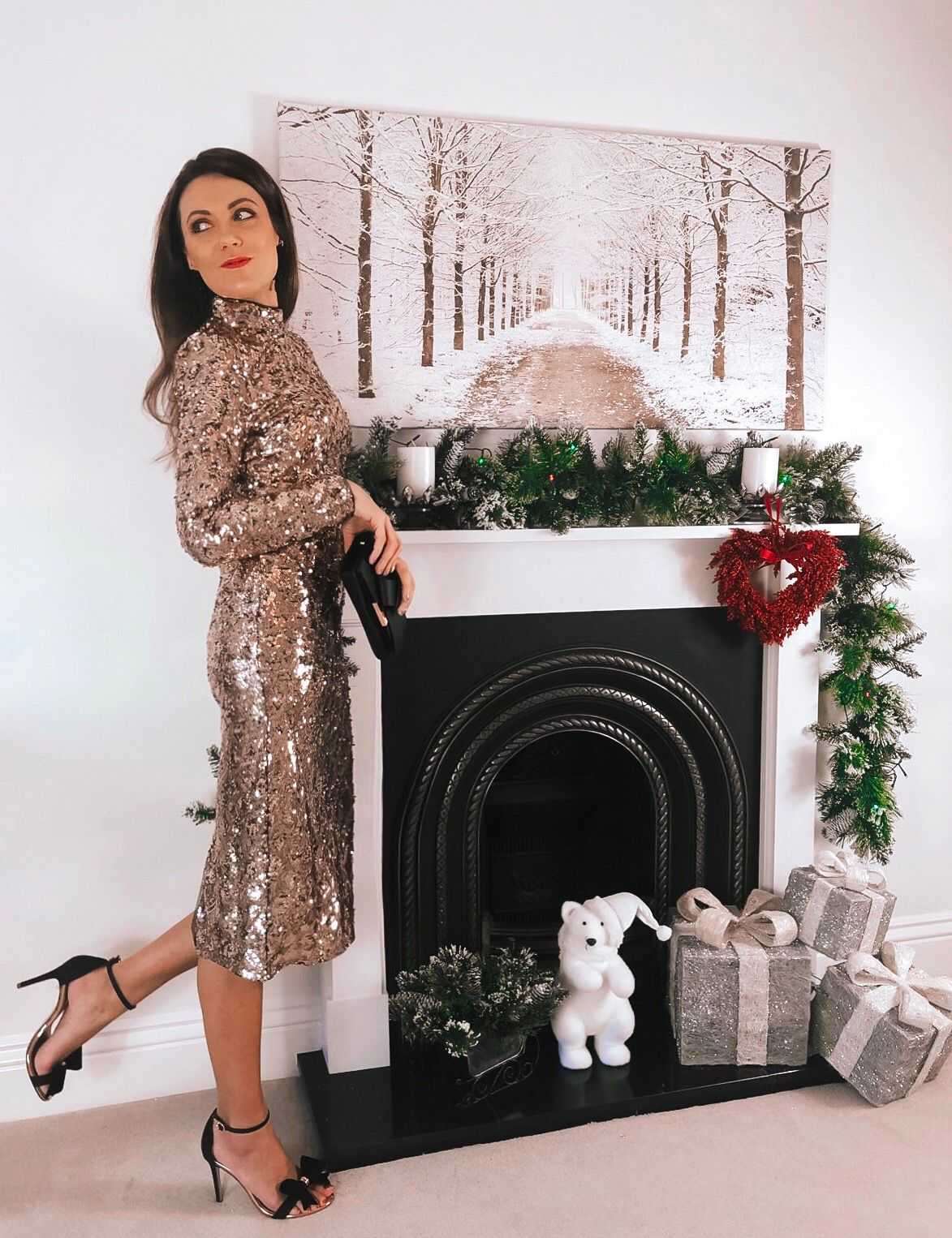 ASOS TFNC high neck sequin midi dress in gold | Ted Baker Black Bowdalo Strappy Heeled Sandals | Ted Baker giant knot cross body purse bag | ASOS earrings