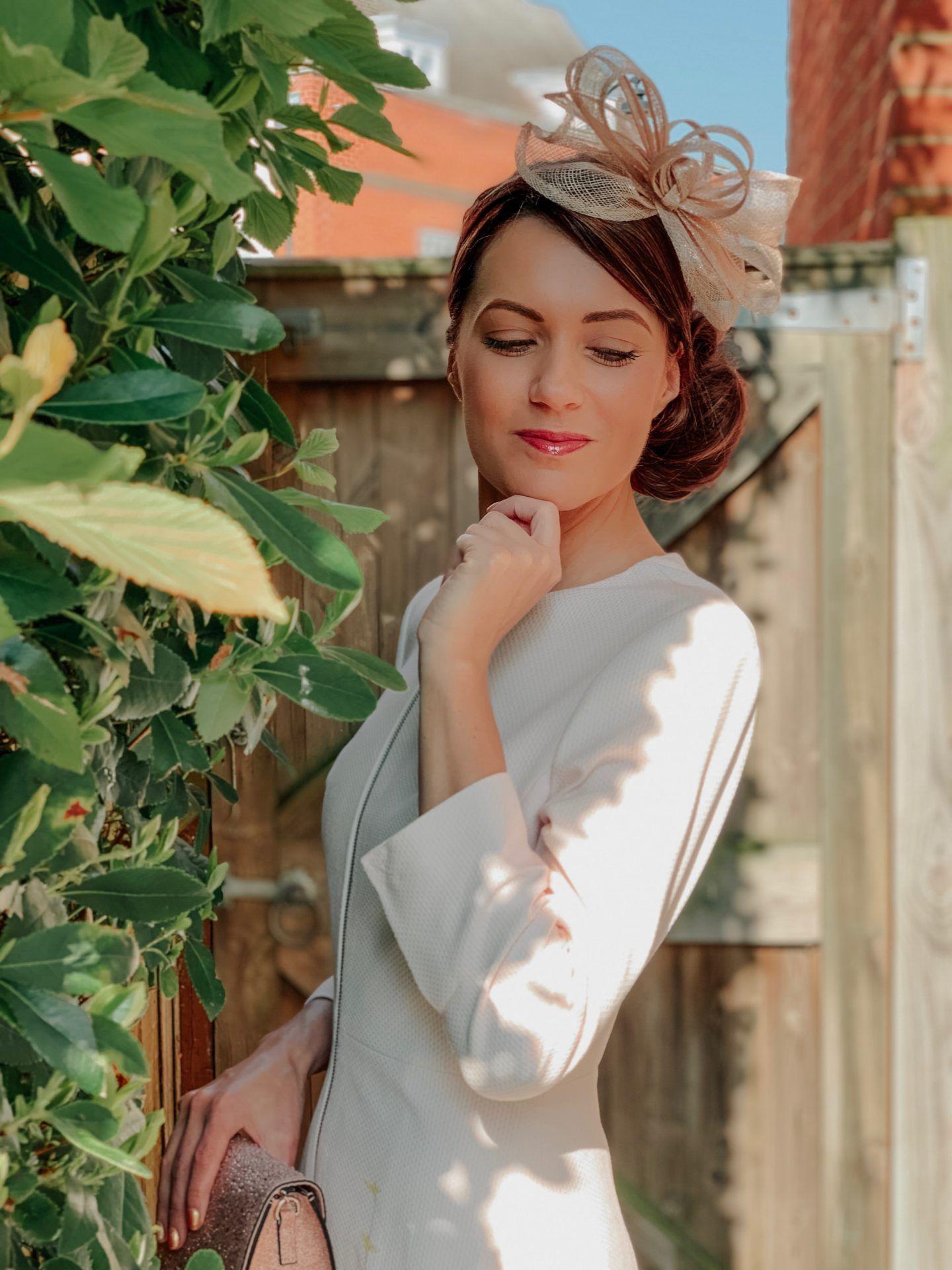 Lipsy Diamanté Fascinator | New Look Diamante Clutch Bag | Ted Baker Pink Luluuu Elegant Textured Dress Coat | Ted Baker shoes