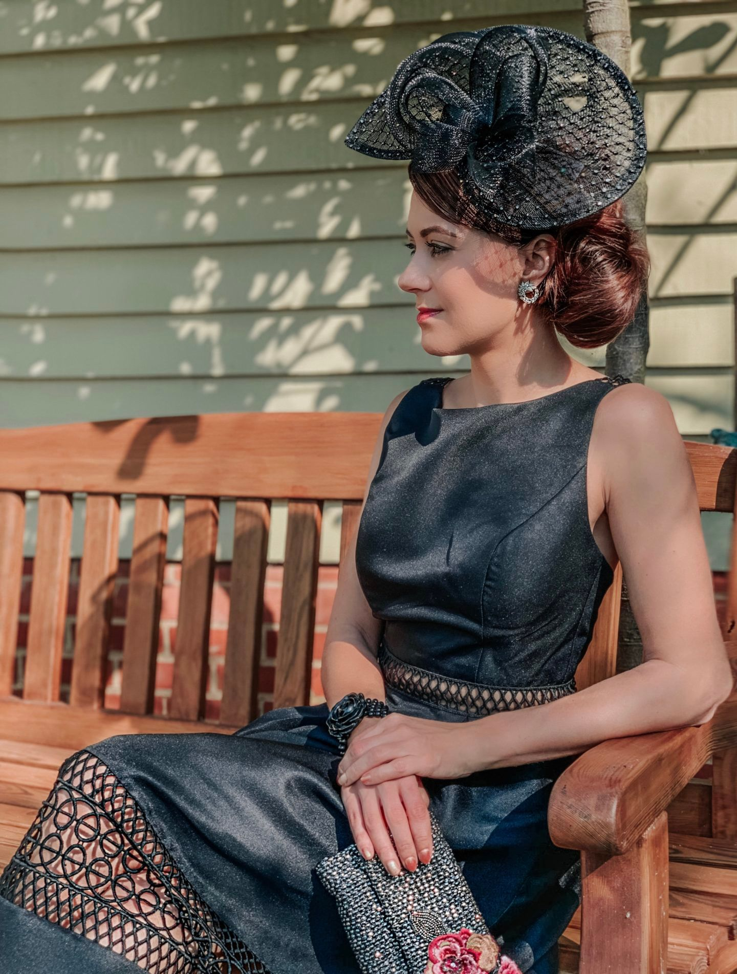 Chi Chi London Tall structured midi dress with lace inserts in black | Lipsy Diamanté Fascinator | Swarovski Earrings | Kurt Geiger Jewelled Heeled Mules | Monsoon bag | Charlotte Tilbury make up