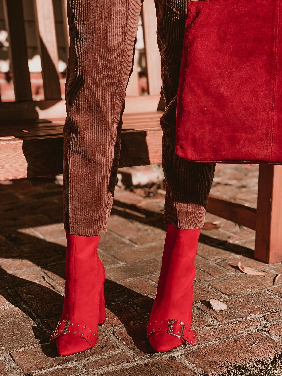 ASOS DESIGN blazer in jumbo cord | ASOS DESIGN slim trouser in jumbo cord | Boohoo Buckle Detail Heeled Boot | ASOS DESIGN suede tote bag with square handle detail | Elegant Duchess Boutique Brooch | Swarovski Hoop earrings