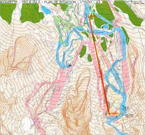 Plano topográfico del telesilla du Z de Gourette