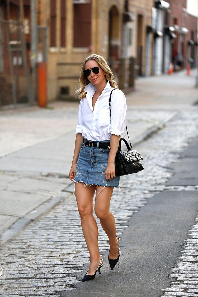 Levi's Denim Skirt, Alix White Button Down Bodysuit, Helena of Brooklyn Blonde