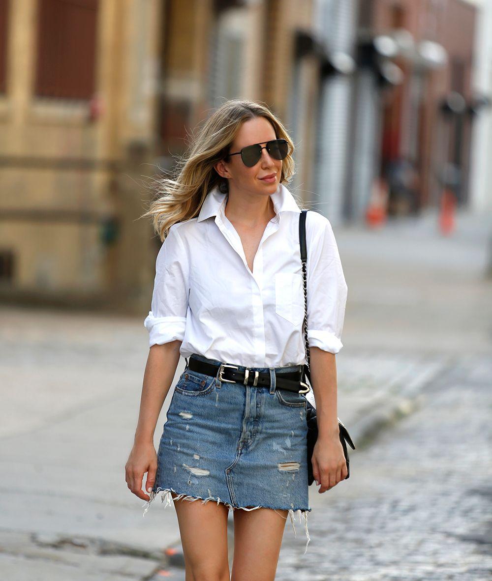 Levi's Denim Skirt, Alix White Button Down Bodysuit, Summer Outfit, Helena of Brooklyn Blonde
