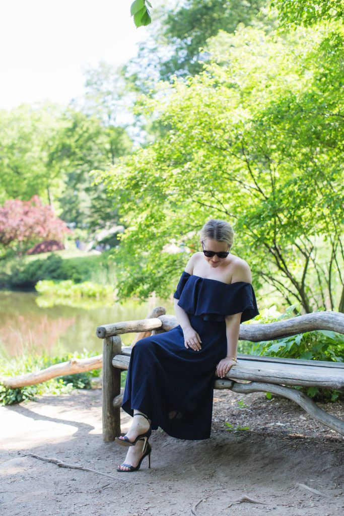 ASOS Navy Off the Shoulder Dress I wit & whimsy