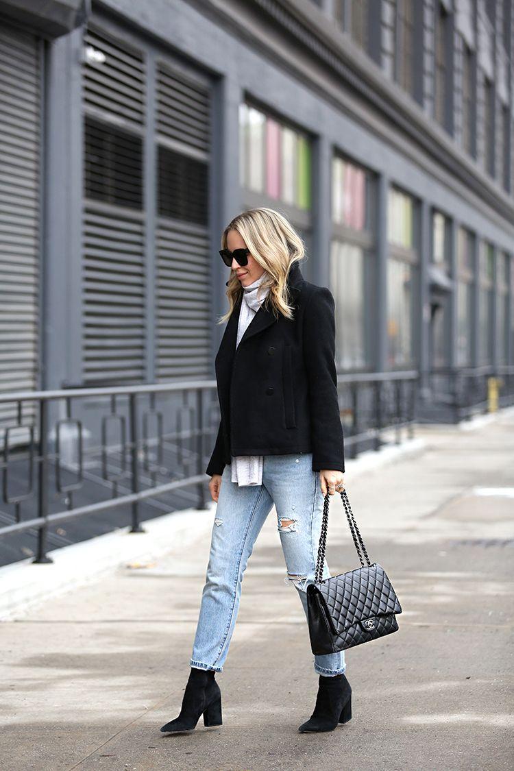 Winter Outfit Ideas, Peacoat, Boyfriend Jeans, Chanel Maxi bag, Helena of Brooklyn Blonde