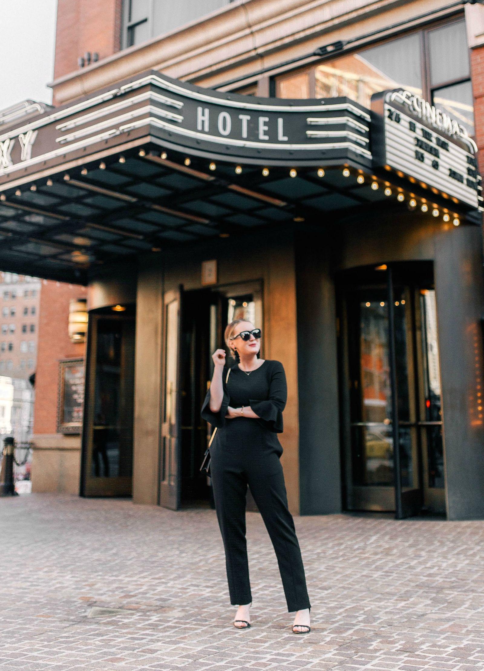 Sleek + Stylish Black Jumpsuit on wit & whimsy's Meghan Donovan