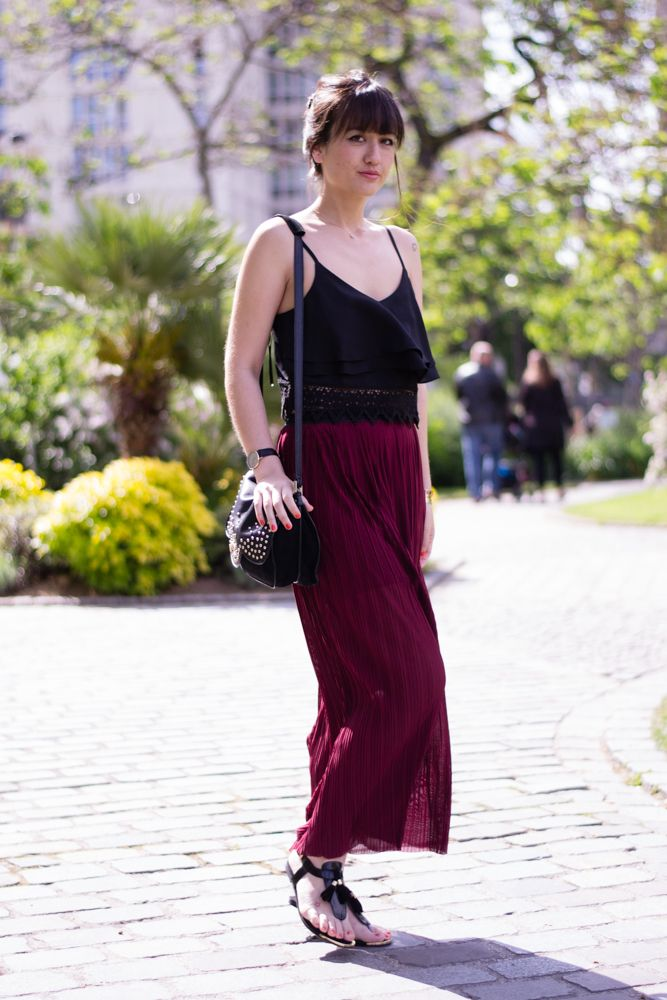 how to wear a long skirt