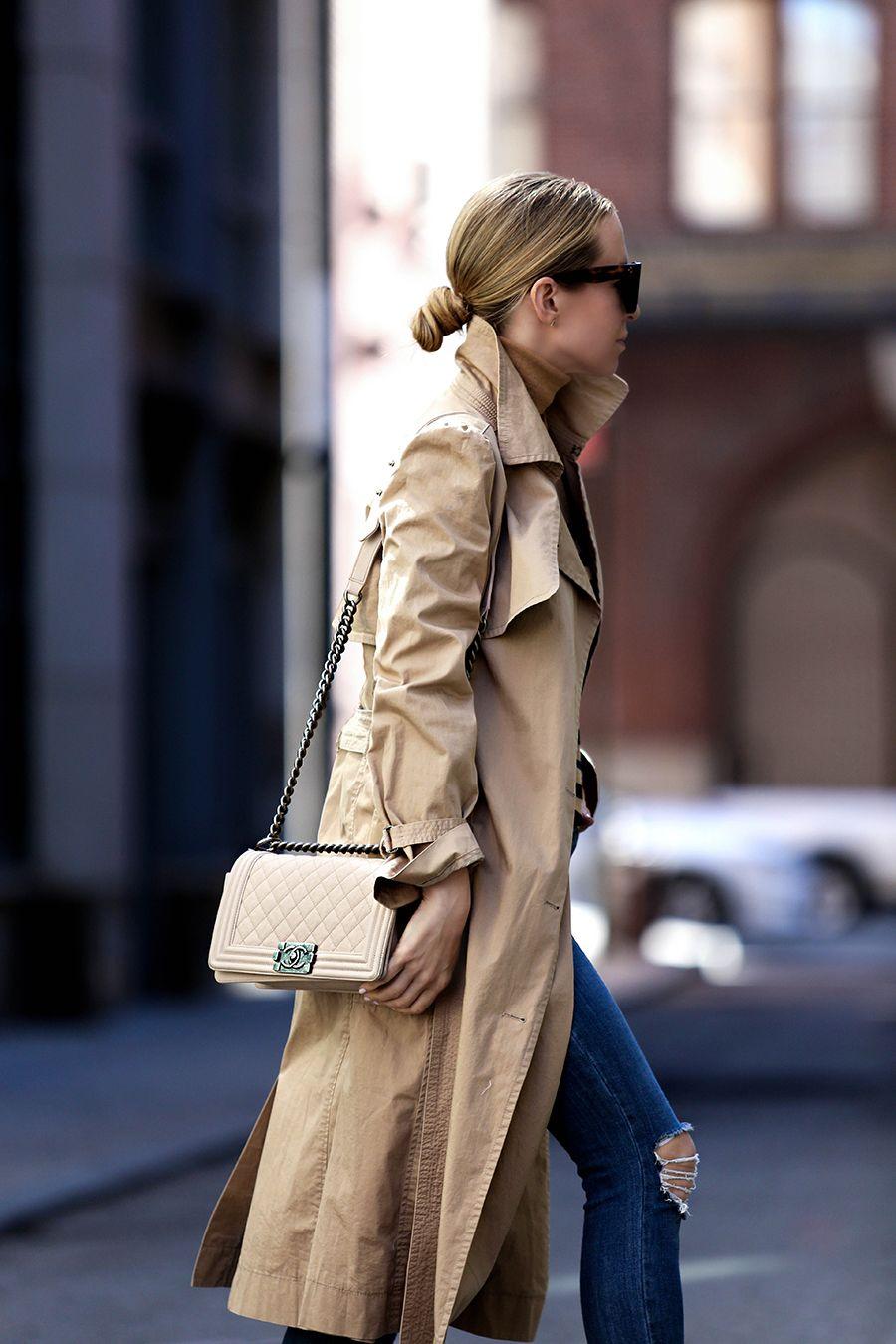 Helena Glazer of Brooklyn Blonde wearing a trench coat by La Vie Rebecca Taylor