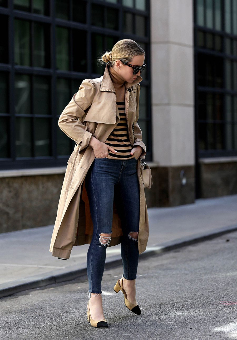 How to style a trench coat - Helena Glazer of Brooklyn Blonde wearing a trench coat by La Vie Rebecca Taylor