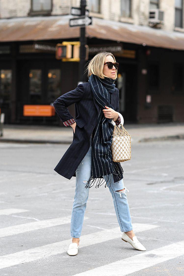 Spring Outfit, Navy Blazer, Pinstripe, Helena of Brooklyn Blonde
