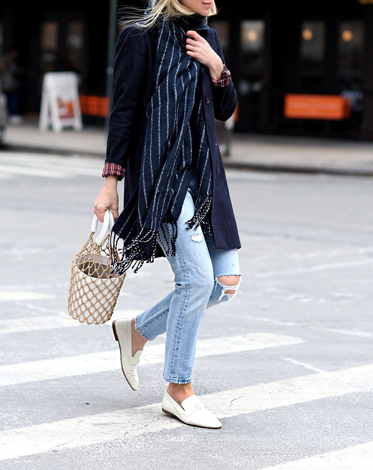 Pinstripe Scarf, Bucket Bag, White Loafers, Street Style, Helena of Brooklyn Blonde