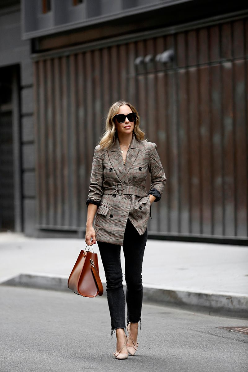 ASTR the Label Emerson Plaid Blazer, Fall Outfit, Helena of Brooklyn Blonde